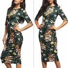 Boho Floral Women Bodycon Midi Dress Summer Evening Party Slim Fit Pencil Dress
