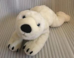 "Fiesta 15"" Laying Down Polar Bear (Snow) W/Blue Eyes Plush Stuffed Animal"