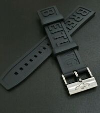 22MM RUBBER BLACK WATCH STRAP FOR BREITLING WITH PIN CHROME BUCKLE FLEXIBLE MENS