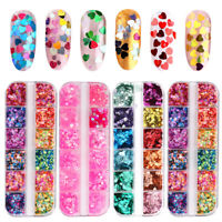 12 Grids/Set Mixed Nail Glitter Flake 3D DIY Sequins Paillette Powder Decal New
