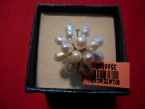 Freshwater Pearl Stainless Steel Floral Ring-Size 6
