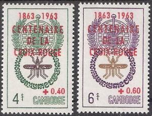 Cambodia 1963 Malaria Eradication Red Cross Overprint MNH (SC# B11-B12)