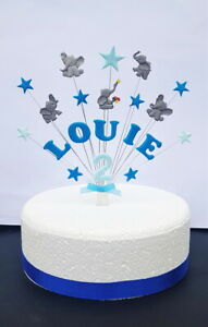 Elephant birthday / christening cake topper, personalised name and age, Handmade