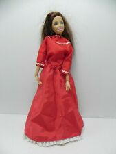 Red Satin Long Sleeve With Skirt Vintage Doll Clothes Made 1959 Usa Will fit Bar