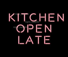 "New Kitchen Open Late Pink Neon Light Sign 17"" Acrylic Wall Pub Decor"