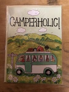 CAMPERHOLIC VW CamperVan Blank Greeting Card NEW SEALED GIFT