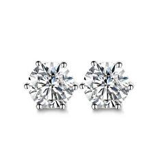 Elegant Round Cut Cubic Zirconia Stud Earrings Womens Silver Plated Jewelry Gift
