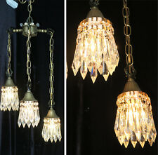 3Lt Vintage Swag lamp chandelier tole brass Deco Insp forest Lily crystal prisms