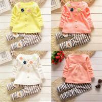 Baby kids Girls Warm Flower Long Sleeve Cardigan+Strip Pants Clothing Sets US