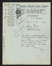 """NANTES (44) QUINCAILLERIE TAILLANDERIE BOISSELLERIE VANNERIE """"J. MAREC"""" en 1922"""
