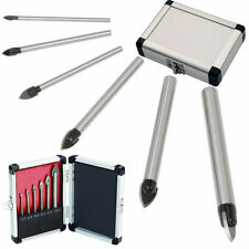 NEW 6 PC PIECE GLASS AND TILE DRILL BIT SET KIT 3 4 5 6 8 10 MM + CASE