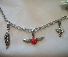 Red and White Austrian Crystal Heavenly Bracelet in Stainless Steel - 8 in