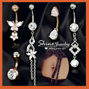 Diamond Opal Belly Button Navel Ring Crystal Dangle Drop Ball Bar Body Piercing