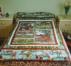 Quilted Handmade Beautiful Twin Bed Blanket Wall Hanging Art Decor Quilt 84 x 56