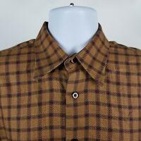 Robert Talbott Mens Brown Windowpane Check Dress Button Shirt Sz Medium