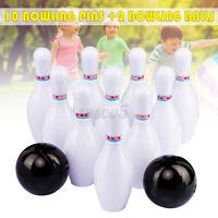 Indoor Kids Bowling Play Set 10 Bowling Pins + 2 Bowling Balls Interactive Toy