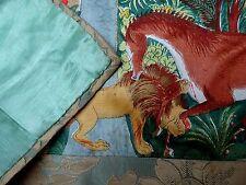 SILK Muro Appeso LION attaccando un cavallo antico copertura tavolo cinese Pannello