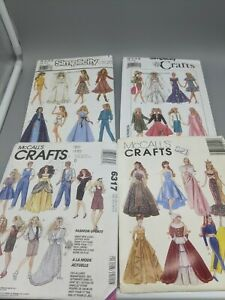 """McCall's Simplicity Crafts Barbie Doll 11.5"""" Clothes Patterns Lot 6317 8333 9334"""