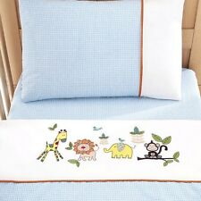 NURSERY COT BED DUVET COVER SET BOYS PALE BLUE WHITE EMBROIDERED JUNGLE ANIMALS