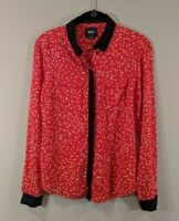 Maeve Anthropologie Button Down Shirt Red White Polka Dots Womens Size 0