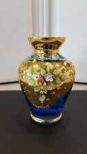 bohemian small glass vase gold gilt enamel flowers