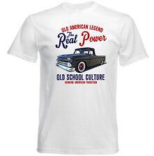 Vintage voiture américaine Chevy Pick Up C10 Long Lit-Nouveau T-shirt en coton