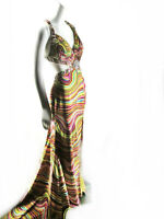 Tony Bowls Beaded Striped Hi Slit Train Evening Gown Pageant Dress 4 D725 AS IS