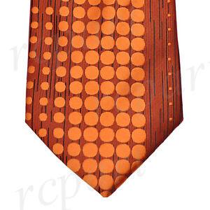 New men's polyester woven neck tie necktie dots orange rust wedding formal prom