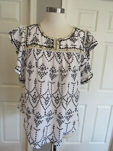 J. Crew Women's White/Navy/Gold Embroidered Eyelet Flutter Sleeve Blouse Size XL