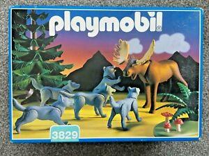 PLAYMOBIL 3829 WOLF PACK & MOOSE NEW IN BOX 1996 VINTAGE