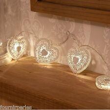 1 Enfilade Coeur LED lumières de Noël Chaîne de Lumière Fête Décoration Blanc