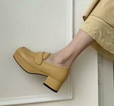Womens 2020 Fashion Leather Platform Block Heel Slip On Court Shoes Loafers SKGB