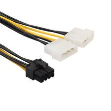 2PC Dual Molex 4 Pin To 8 Pin PCI-E Express Converter Adapter Power Cable 18cm A
