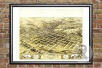 Vintage Council Bluffs, IA Map 1868 - Historic Iowa Art Old Victorian Industrial