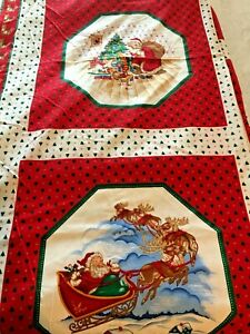 Vtg Christmas Eve Santa Fabric Panel 4 Pictorial Squares Red Reindeer Sleigh