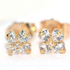 Small Flower Earrings Gold Earrings Crystal Jewelry Womens Girls Childrens Earrs