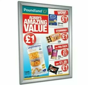 *** SEALED *** A2 Poster Security Snap Frame 25mm Profile Mitered Corners Silver