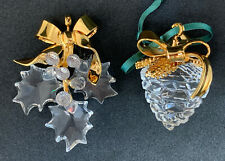 Lot 2 Swarovski Crystal Ornaments Christmas Memories Holly Berries And Pine Cone