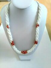 White Beaded Twisted Necklace with Red/Brown Detailing
