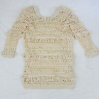 Womens Volcom Cocoknit Sweater Dress Cream White Vintage Style Fringe Sz Small