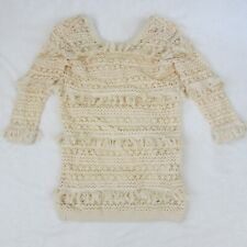 Womens Volcom Cocoknit Sweater Dress Cream White Vintage Style Fringe Sz Small