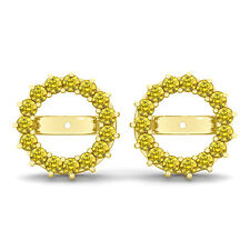 1.20 Carat Yellow Round Diamond Solitaire Stud Earring Jackets 14K Yellow Gold