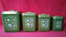 Vintage Green Plastic Lustro Ware Nesting Canister Set Retro Mid Century