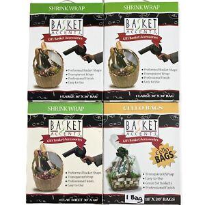 Basket Accents Shrink Wrap Gift Bags Transparent 2) 30X30 1) 18x30 1) Flat Sheet