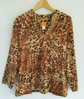 Ruby Rd. Women's XL Brown Animal Print 3/4 Sleeve Cotton Embellished Knit Top