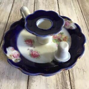 Vintage Porcelain Victorian Style Blue & White Floral Design Candle Holder Stick