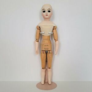 Antique French Poupee Reproduction Doll Bisque Head Wooden Body Jumeau Thuillier