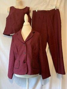 Sag Harbor Three-Piece Suit 14 P Pants +jacket + top wine color guc  Free ship