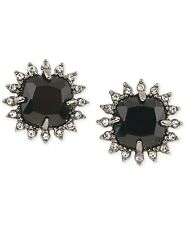 Carolee 167244 Womens Hematite-Tone Black Stone and Crystal Stud Earrings