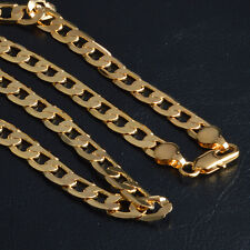 New Fashion Yellow Gold Filled Mens Necklace Solid Cuban Curb Chain Jewelry 20""